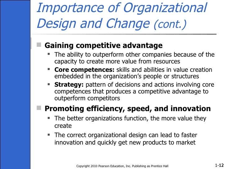 Importance of Organizational Design and Change  (cont.) <ul><li>Gaining competitive advantage </li></ul><ul><ul><li>The ab...