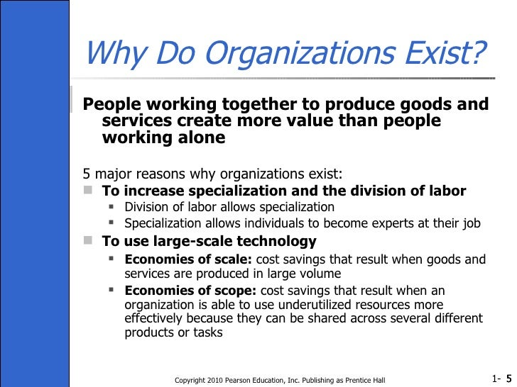 Why Do Organizations Exist? <ul><li>People working together to produce goods and services create more value than people wo...