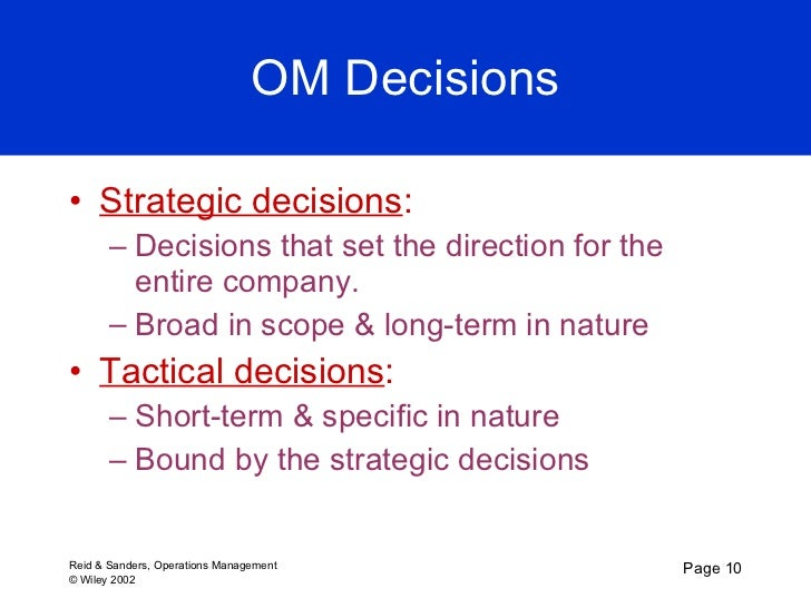 ten operation management decisions Operations management and decision making, 17 models, 18  1 introduction to operations management 2 competitiveness, strategy, and productivity 3 forecasting.