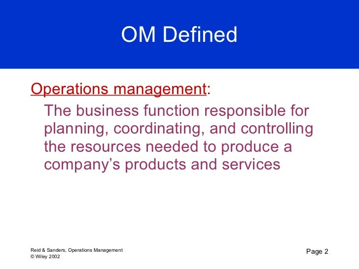 Production and operations management chapters 1 8 introduction to operations management 1 c h a p t e r 2 fandeluxe Image collections