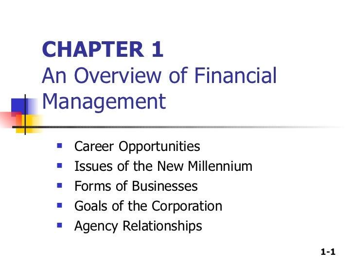CHAPTER 1 An Overview of Financial Management <ul><li>Career Opportunities </li></ul><ul><li>Issues of the New Millennium ...