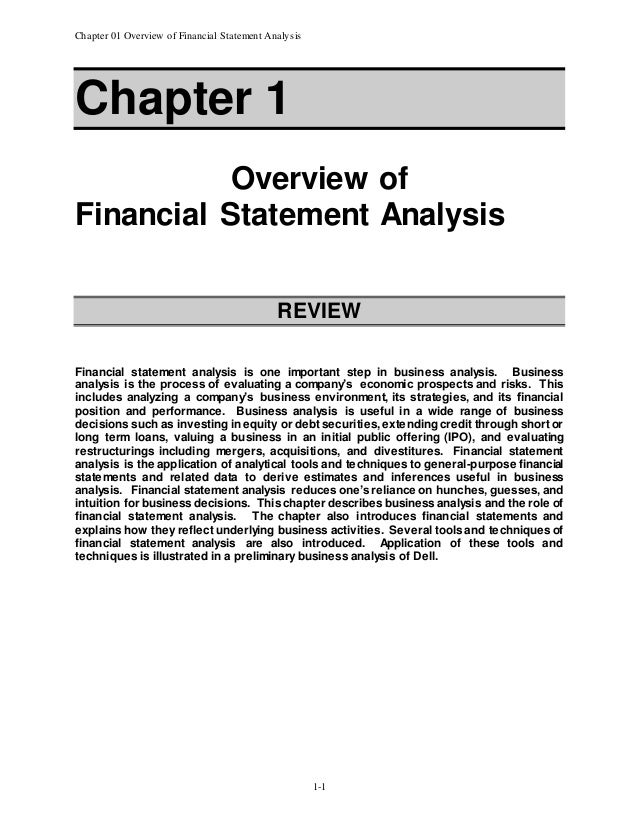 Chapter   Overview Of Financial Statement Analysis