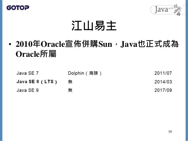 江山易主 • 2010年Oracle宣佈併購Sun,Java也正式成為 Oracle所屬 10