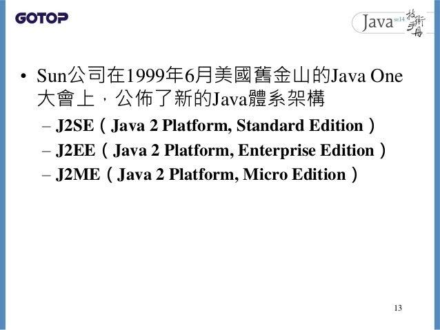 • Sun公司在1999年6月美國舊金山的Java One 大會上,公佈了新的Java體系架構 – J2SE(Java 2 Platform, Standard Edition) – J2EE(Java 2 Platform, Enterpri...