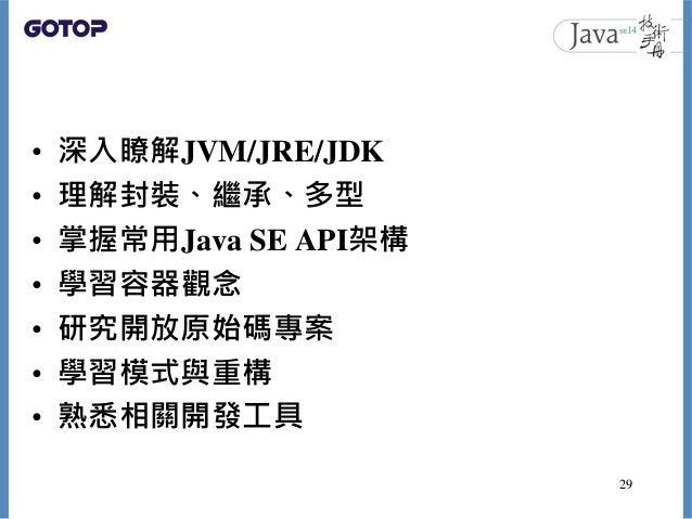 • 深入瞭解JVM/JRE/JDK • 理解封裝、繼承、多型 • 掌握常用Java SE API架構 • 學習容器觀念 • 研究開放原始碼專案 • 學習模式與重構 • 熟悉相關開發工具 29