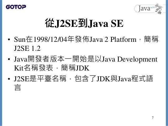 從J2SE到Java SE • Sun在1998/12/04年發佈Java 2 Platform,簡稱 J2SE 1.2 • Java開發者版本一開始是以Java Development Kit名稱發表,簡稱JDK • J2SE是平臺名稱,包含...