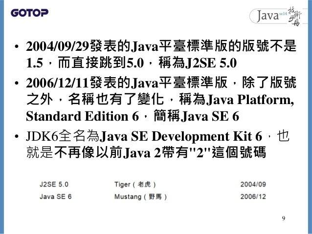 • 2004/09/29發表的Java平臺標準版的版號不是 1.5,而直接跳到5.0,稱為J2SE 5.0 • 2006/12/11發表的Java平臺標準版,除了版號 之外,名稱也有了變化,稱為Java Platform, Standard E...