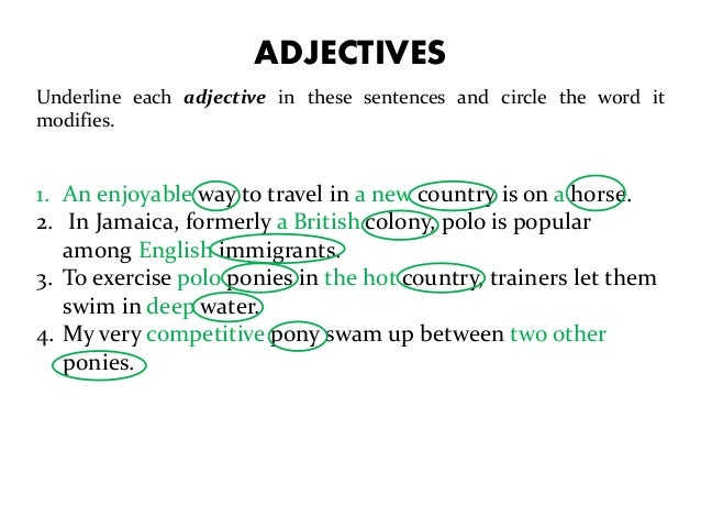 sentences using adjectives and adverbs