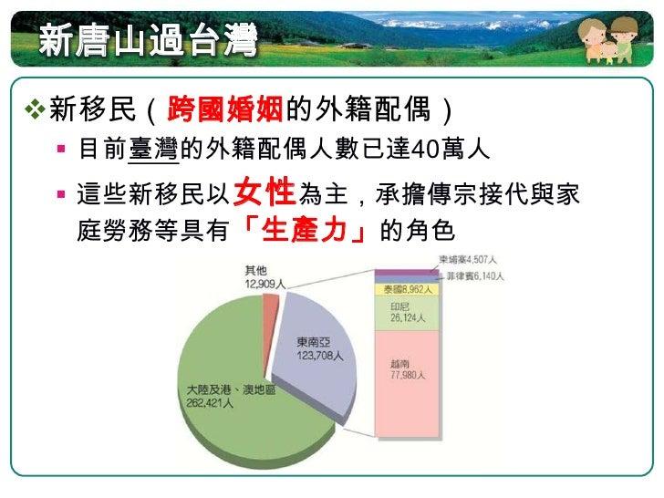 新移民的適應   目前臺灣每七對夫妻就有一對是跨國聯   姻,而平均在臺出生的新生嬰兒中,大   約每十人就有一位是新移民子女  新移民的社會與生活調適需要政府挹   注更多文化教育配套措施,來協助其適   應在臺灣的生活環境