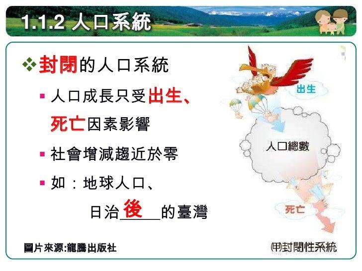 1.1.2 人口系統  開放的人口系統:   人口成長同時受出   生、死亡、移入   、移出的影響   如:    移墾時期的臺灣、    台北市人口  圖片來源:龍騰出版社