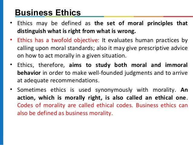 describe the ethical issues a business Business ethics is about the application of ethical values to all business behaviours and functions what are some examples of business ethics issues some of the key issues addressed in current codes of business ethics are bribery & corruption.