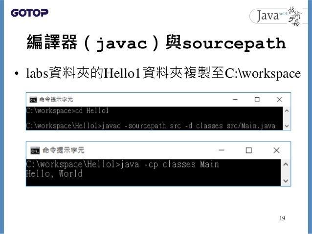 編譯器(javac)與sourcepath • labs資料夾的Hello1資料夾複製至C:workspace 19