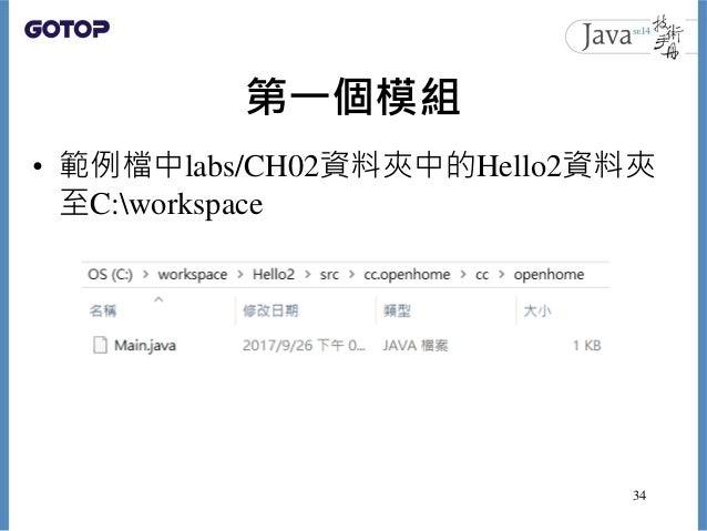 第一個模組 • 範例檔中labs/CH02資料夾中的Hello2資料夾 至C:workspace 34