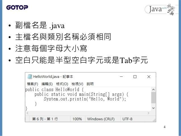 • 副檔名是 .java • 主檔名與類別名稱必須相同 • 注意每個字母大小寫 • 空白只能是半型空白字元或是Tab字元 4