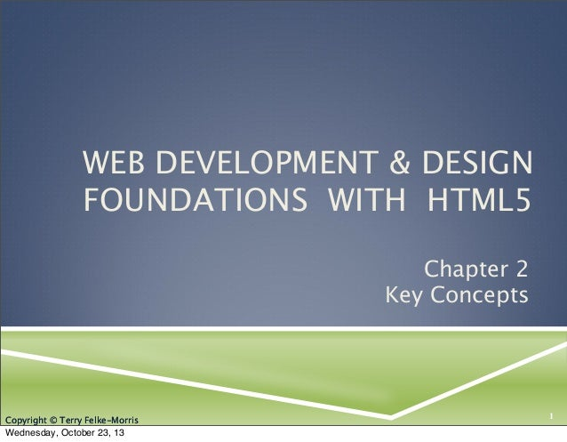 WEB DEVELOPMENT & DESIGN FOUNDATIONS WITH HTML5 Chapter 2 Key Concepts  Copyright © Terry Felke-Morris  Wednesday, October...