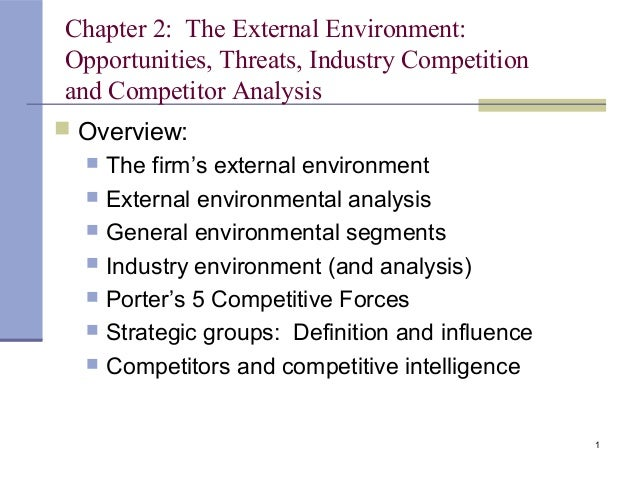 1 Chapter 2: The External Environment: Opportunities, Threats, Industry Competition and Competitor Analysis  Overview:  ...