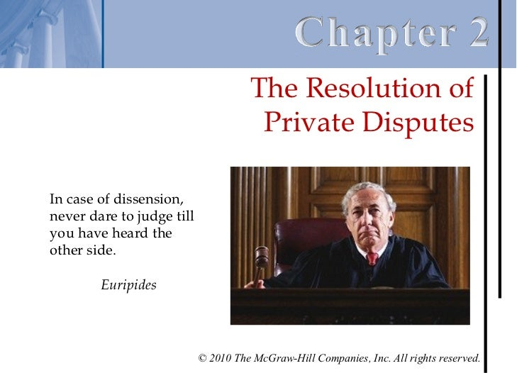 Chapter 2 - The Resolution of Private Disputes Slide 2