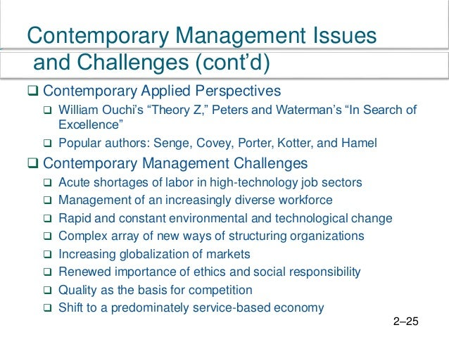 contemporary issues in management topics list