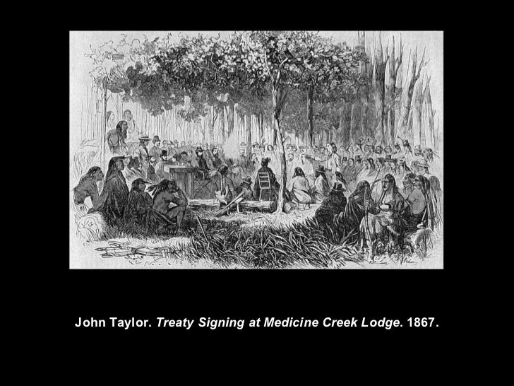 howling wolf s treaty signing at medicine lodge creek Treaty signing at medicine creek lodge is title of two different drawing by two different artists john taylor drew his version in 1867, and howling wolf drew his version approximately 8-11 years later.