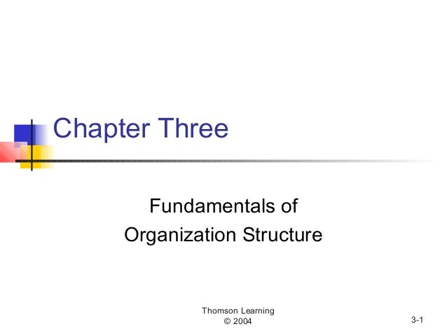 Thomson Learning © 2004 3-1 Chapter Three Fundamentals of Organization Structure