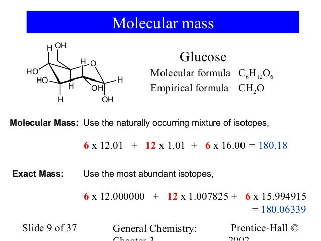 What is prediction of the molecular weight of glucose