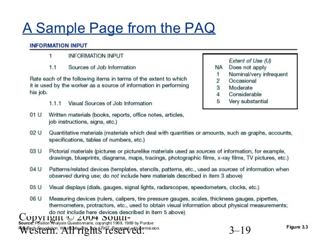 Position Analysis Questionnaire Example Chapter 03 Job Employee Involvement And Flexible Work Sche