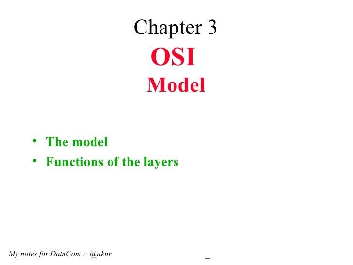 Chapter 3 OSI   Model <ul><li>The model </li></ul><ul><li>Functions of the layers </li></ul>My notes for DataCom :: @nkur 