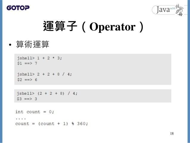 運算子(Operator) • 算術運算 18