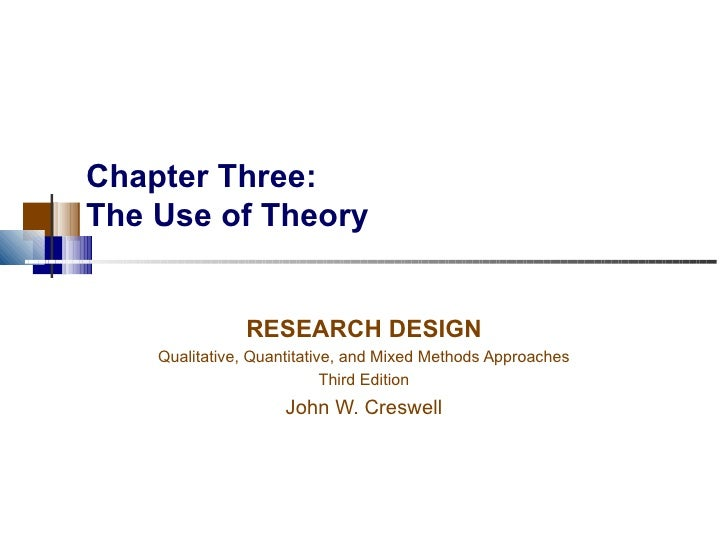 Chapter Three: The Use of Theory RESEARCH DESIGN Qualitative, Quantitative, and Mixed Methods Approaches Third Edition Joh...