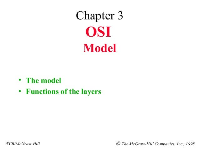 Chapter 3                         OSI                        Model     • The model     • Functions of the layersWCB/McGraw...