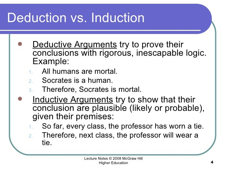 deductive and inductive arguments essay During the scientific process, deductive reasoning is used to reach a logical true conclusion another type of reasoning, inductive, is also used often, people confuse deductive reasoning with inductive reasoning, and vice versa it is important to learn the meaning of each type of reasoning so.