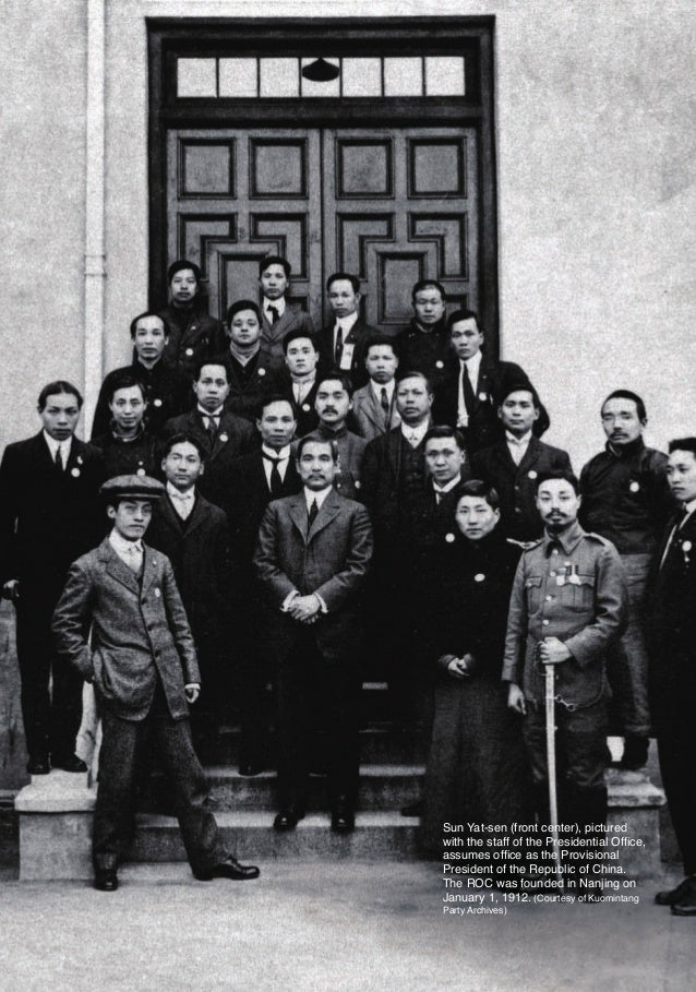 Sun Yat-sen (front center), pictured                        with the staff of the Presidential Office,                    ...