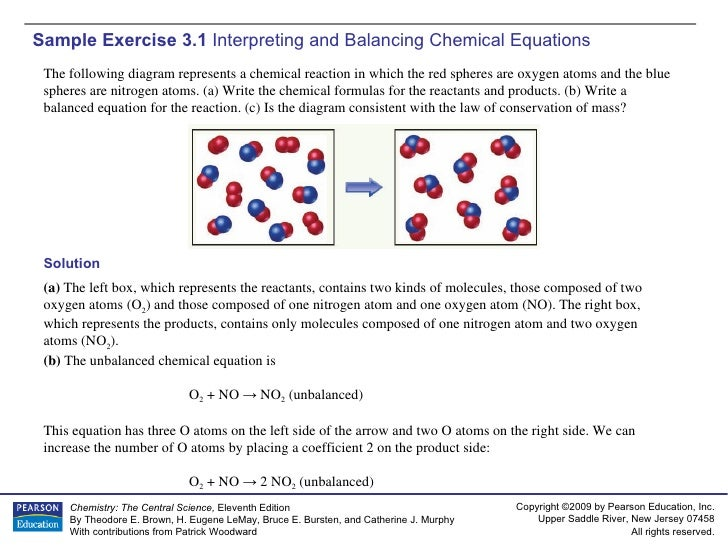 Sample Exercise 3.1  Interpreting and Balancing Chemical Equations Solution (a)  The left box, which represents the reacta...