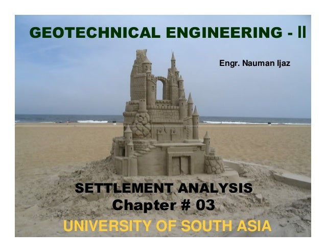 GEOTECHNICAL ENGINEERING - II Engr. Nauman Ijaz  SETTLEMENT ANALYSIS  Chapter # 03 UNIVERSITY OF SOUTH ASIA
