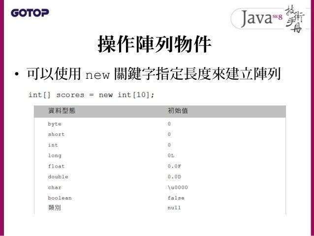 操作陣列物件 • 可以使用 java.util.Arrays 的 fill() 方法來設定新建陣列的元素值