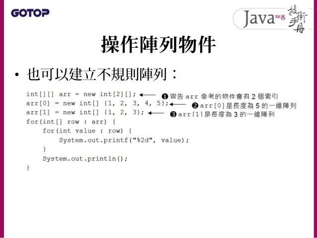 操作陣列物件 • 範例中 new int[2][] 僅提供第一個 [] 數 值,這表示 arr 參考的物件會有兩個索引, 但暫時參考至 null