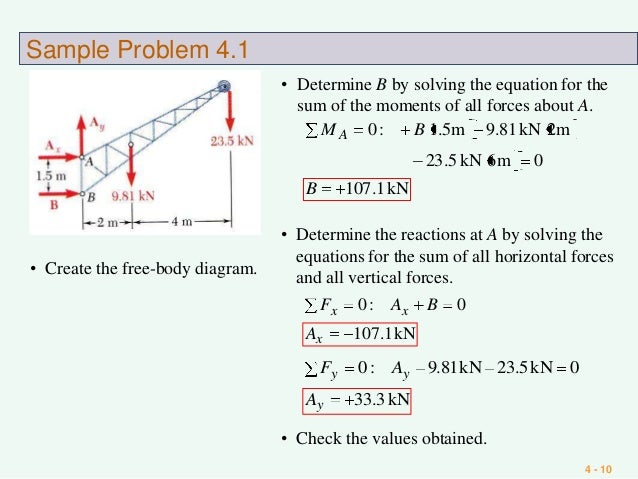 Equilibrium of rigid body 10 4 10 sample problem 41 create the free body diagram ccuart Gallery
