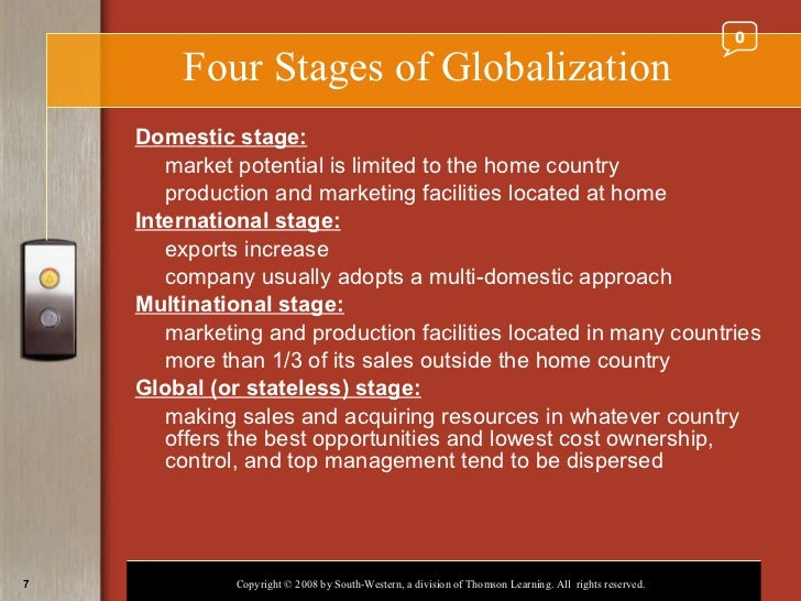 domestic stage of globalization First, with globalization operating at the level of production stages rather than at  the level  (ie including ees) and the domestic relative price of m, respectively.