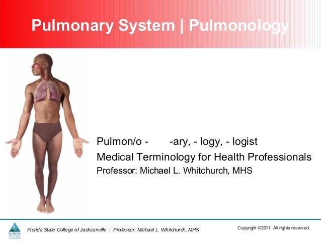 Pulmonary System   Pulmonology  Pulmon/o -ary, - logy, - logist Medical Terminology for Health Professionals Professor: Mi...