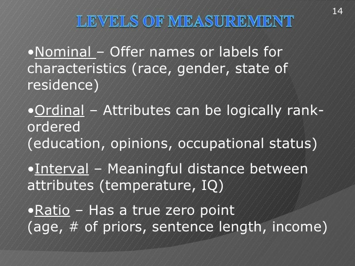 14•Nominal – Offer names or labels forcharacteristics (race, gender, state ofresidence)•Ordinal – Attributes can be logica...