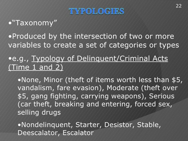 """22•""""Taxonomy""""•Produced by the intersection of two or morevariables to create a set of categories or types•e.g., Typology o..."""