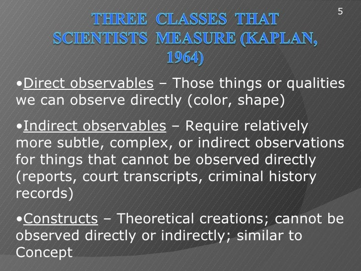 5•Direct observables – Those things or qualitieswe can observe directly (color, shape)•Indirect observables – Require rela...