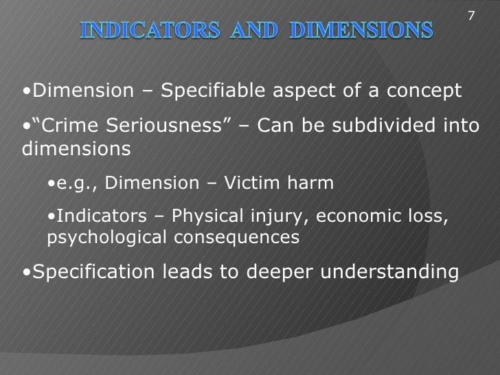"""7•Dimension – Specifiable aspect of a concept•""""Crime Seriousness"""" – Can be subdivided intodimensions  •e.g., Dimension – V..."""