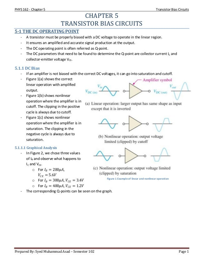 PHYS 162 - Chapter 5 Transistor Bias Circuits Prepared By: Syed Muhammad Asad – Semester 102 Page 1 Figure 1 Example of li...