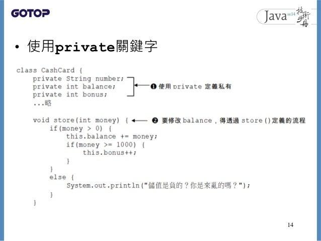 • 使用private關鍵字 14