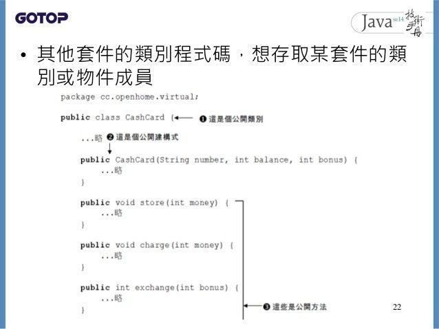 • 其他套件的類別程式碼,想存取某套件的類 別或物件成員 22
