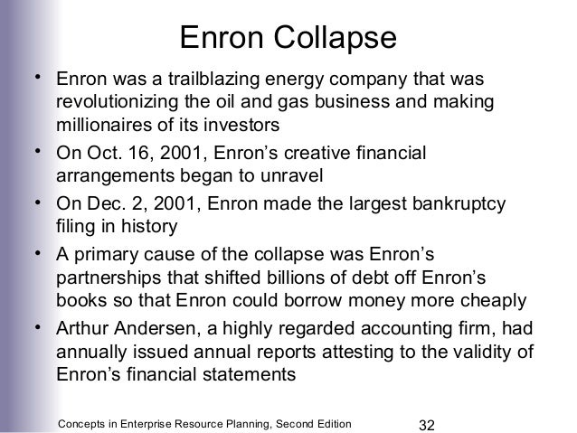 causes of enron collapse The collapse of enron: managerial aspect summary  thus, it is evident that the collapse of enron was caused by a list of interrelated reasons, .