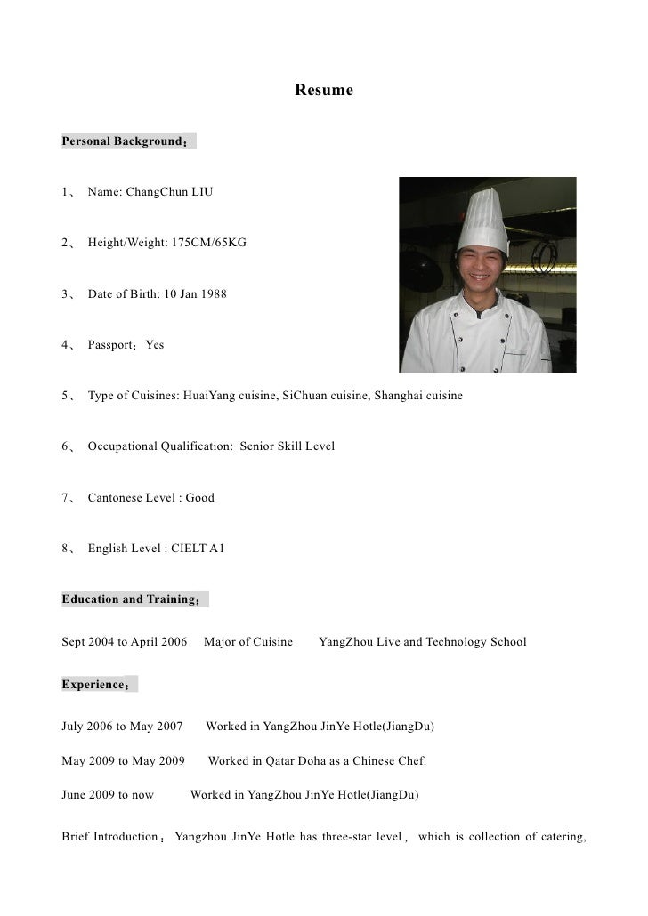 Ch0547 chang chun liu cv english - Chef de partie en cuisine ...