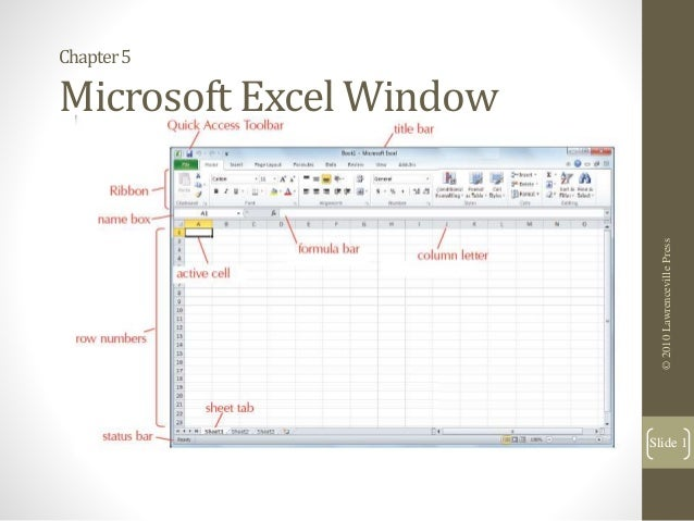 Chapter5 Microsoft Excel Window ©2010LawrencevillePress Slide 1