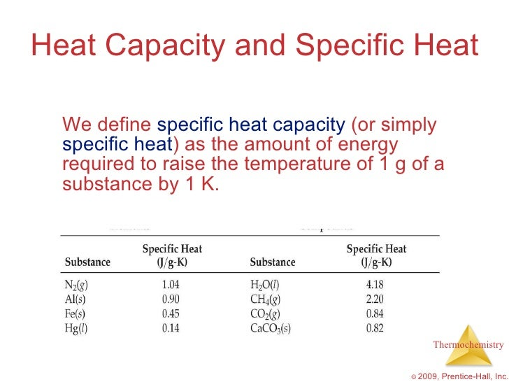 Specific Heat Chart Chemistry AP Chemistry Chapter 5...